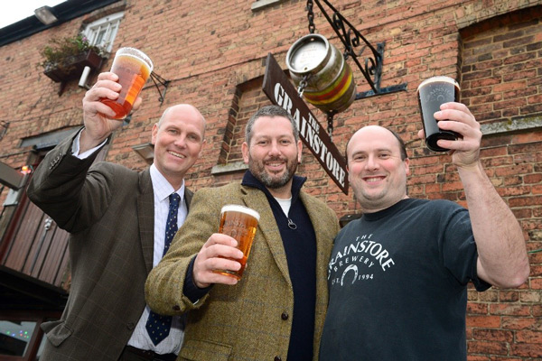 L-R: Partner John Griffin with Grainstore Brewery owners/directors William Davis and Peter Atkinson.