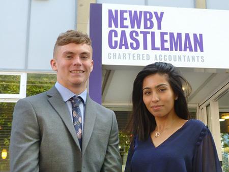 Trainee Chartered Accountants George Hincks and Ameera Aziz.